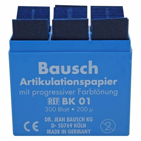Artikulationspapier 200 µ Plastik-Kassette 300 Blatt blau Bausch