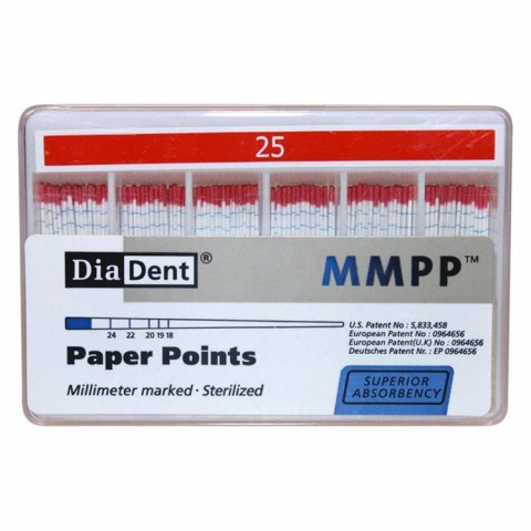 Diadent Papierspitzen farbcodiert ISO 25 1