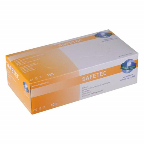 SAFETEC Latexhandschuhe M Pa 100